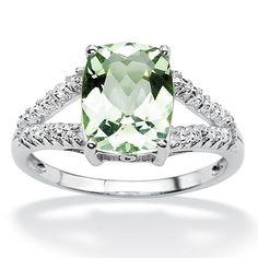 <li>Green Amethyst and Diamond Accent ring</li><li>Platinum over Sterling Silver jewelry</li><li><a href='http://www.overstock.com/downloads/pdf/2010_RingSizing.pdf'><span class='links'>Click here for ring sizing guide</span></a></li>