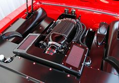 The Supercharged features a custom intake system with K&N Performance Air Filters Chevy C10, Chevy Trucks, Chevrolet, Automotive Engineering, Automotive Design, 1956 Ford Truck, Crate Motors, Ls Engine, Car Colors