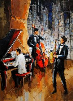 Late Night Jazz - painting by Michael Rozenvain at Crescent Hill Gallery… Music Pictures, Art Pictures, Jazz Painting, Jazz Poster, Jazz Art, Music Artwork, Jazz Musicians, Art Abstrait, Black Art