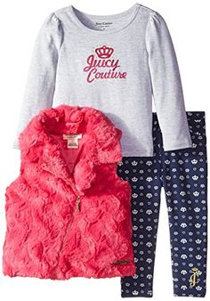 Juicy Couture Little Girls' Vest Tee and Printed Jeggings, Pink, 4T
