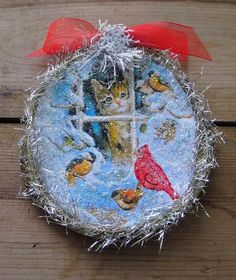 Excited to share the latest addition to my #etsy shop: Sweet Kitten/Kitty at Snow Frosted Window Looking at Red Cardinal and Other Birds-Vintage Christmas Card Image-Glitter Ornament-Handmade http://etsy.me/2BriPUb #housewares #homedecor #white #christmas #blue #entryw