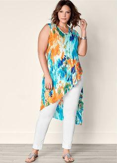 Plus Size Ribbed Tie Dye Tunic Top in Turquoise Multi Curvy Fashion, Plus Size Fashion, Boho Fashion, Plus Size Dresses, Plus Size Outfits, Basic Shirts, Bohemian Mode, Plus Size Kleidung, Plus Size Tips
