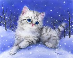 Kitten in the Snow - Grafitec:6.314 - CANVAS ONLY - Penelope White Canvas, colour printed design. Canvas size 30cm X 40cm with DMC thread recommendations.