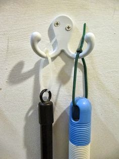 Use zip ties inserted into broom, mop and tool handles to make them easier to hang on any hook.