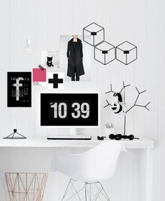 Wonderful home office area by Katerina Dima.  Find the POV wall candle holders heer: http://www.nordicblends.nl/nl/producten/menu/p-1-2/Menu-POV-kandelaar-wand-zwart.html