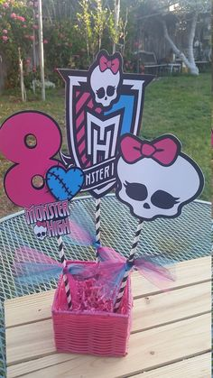 Basket not included dolls and skulls are double sided printed on cardstock paper. The monster high sign and logo and number are not printed