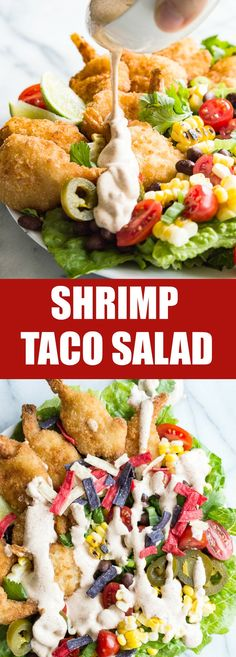 Shrimp Taco Salad with Southwestern Dressing