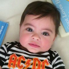 Little rocker: Shakira posted this cute picture of her seven-month-old son Milan Pique wearing an AC/DC onesie, no doubt as homage to the band that inspired her as a youngster Little Babies, Cute Babies, Baby Kids, Shakira Baby, Milan Pique, Baby Pictures, Cute Pictures, Kids Zone, Baby Born