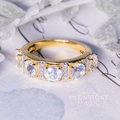 14kt Solid Yellow Gold Moonstone Ring with Diamonds - Simplicity $775