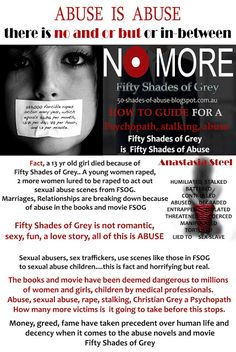 """Fifty Shades of Abuse: Fifty Shades of Grey """"GREY"""" Promoting Sexual Violence to our children"""