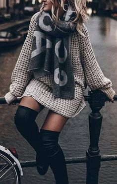 Cute Casual Suede Thigh High Boots Outfit Ideas for Women Fall or Winter - Lindas ideas de ropa de otoño o invierno para mujeres - www.GlamantiBeauty.com