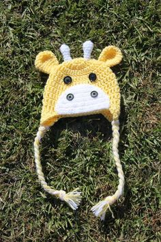 Giraffe Beanie with Small Bow Pattern - via @Craftsy