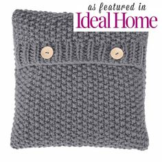 """16 x 16"""" Hand knitted grey knitted cushion from Courtyard Boutique 