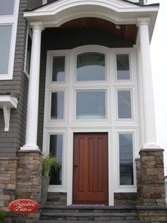 3 Panel Sepele. Exterior Doors, Entry Doors, Front Doors, Entrance, Garage Doors, Custom Wood Doors, House Design, Windows, Outdoor Decor
