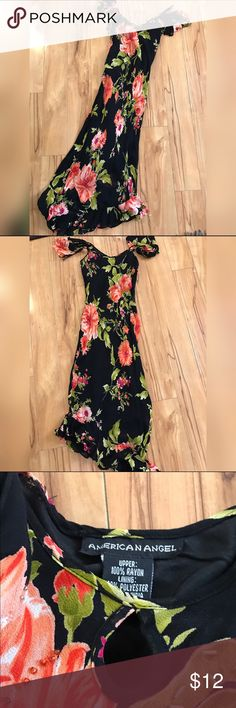 American Angel Rayon Floral Maxi , Small 100% rayon , so stretches, lined black base with colorful floral print , cute shoulders & neckline cut out , flamenco style hem size Small by American Angel American Angel Dresses Maxi