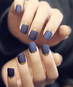 Attractive Blue with Golden Cresent Nail Art Designs for Prom