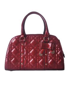 Red Solid Studded Bow Argyle Zipper Tote Bag