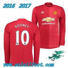 Vente Nouveau Maillot De Foot Man Utd Rouge Manche Longue (ROONEY 10)  Domicile Saison