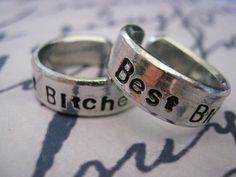 Anniversary Gifts, Best Bitches, Set of 2, Graduation Gifts, Best friend jewelry, BFF, Bestie gift, Friendship rings, Gifts for best friends