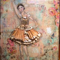 Original mixed media ballerina art by Christa Thomas