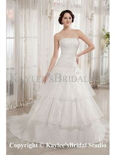Taffeta and Organza Strapless Sweep Train A-Line Wedding Dress