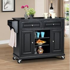 Constructed of solid hardwood and wood veneers, this mobile kitchen island is built to last. The patented no tool easy assembly process saves valuable time, allowing you to enjoy your furniture in just Kitchen Island With Granite Top, Mobile Kitchen Island, Kitchen Island Cart, Granite Tops, Kitchen Islands, Kitchen Dining, Kitchen Carts, Kitchen Redo, Kitchen Stuff