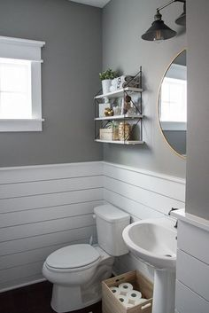light gray and white bathroom design // white shiplap // light gray walls Modern Powder Rooms, Modern Toilet, Small Toilet, White Shiplap, Upstairs Bathrooms, Tiny Bathrooms, Master Bathrooms, Modern Bathrooms, Luxury Bathrooms