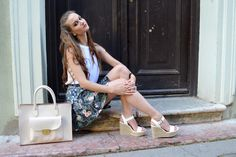 floral, skirt, white, blouse, wedges, sandals, heels, elegant, summer, outift