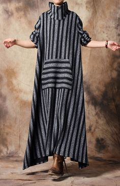 6137129a5d French clothes For Women Soft Surroundings high neck asymmetric Work black striped  Dress Spring Dresses Casual. Omychic Linen Dress