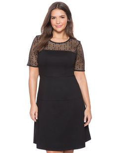 Crocheted Yoke Fit and Flare Dress