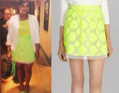 Mindy will be wearing this neon yellow lace skirt in season 3 of The Mindy Project!/// Karen Millen Neon Floral Skirt - $75 (was $199, also her...