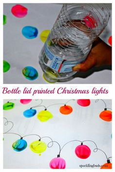 Simple Christmas light painting with water bottle lid. Suitable for toddlers and preschoolers too.