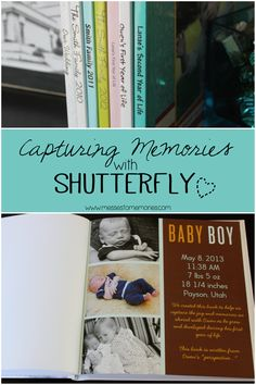 Capture every day memories with Shutterfly books; a great way to keep memories on display from Messes to Memories