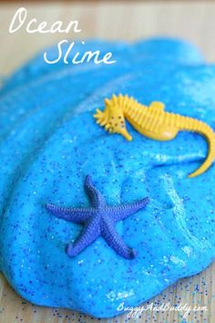 How to Make Ocean Slime (Recipe)- Fun sensory activity for summer or a unit on sea life! ~ BuggyandBuddy.com