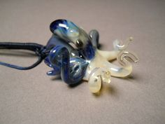Glass Octopus Pendant changing color Blue Pearl by Glassnfire, $48.00