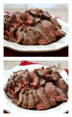 Perfectly Simple and Sliceable CrockPot Roast Beef from Barefeet in the Kitchen; only four ingredients to make perfect roast beef in the slow cooker! [Featured on SlowCookerFromScratch.com]