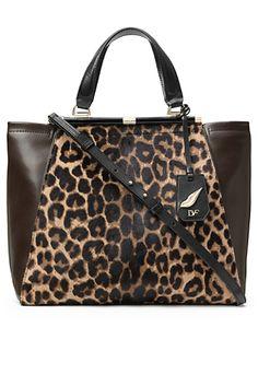 Handbag by DVF | 440 Runaway Leopard Haircalf Tote