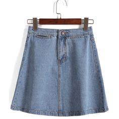 With Button A-Line Denim Skirt (€11) ❤ liked on Polyvore featuring skirts and blue
