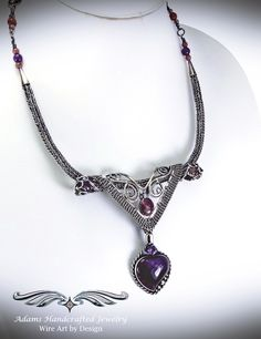 """""""Allure"""" – Elegant Six-in-one Pendant Necklace Set w/ Lepidolite & Amethyst in Fine Silver features three separate pendants & two chains that can be worn in a variety of ways, at least six separate possibilities or as unlimited as your imagination! Necklace Set, Beaded Necklace, Beaded Bracelets, Pendant Necklace, Wire Wrapped Jewelry, Wire Jewelry, Jewlery, Cleaning Silver Jewelry, Handcrafted Jewelry"""