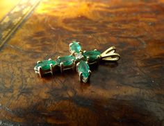 14K Gold Marquise Emerald Diamond Cross by GoldenBeeAntiques