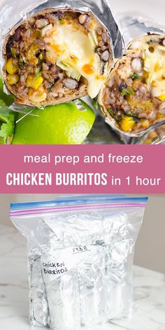 Chicken Burritos for busy people! Meal prep 17 chicken burritos in an hour in Instant Pot or on the stove and freeze for later. Or turn chicken burritos into a low carb burrito bowl. Healthy Freezer Meals, Healthy Family Meals, Healthy Meal Prep, Family Recipes, Freezer Cooking, Yummy Recipes, Recipies, Healthy Eating, Yummy Food