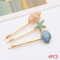 4pcs/set Jewelry Retro Sea Shells Starfish Hairpin Side Clip Hair Accessories Vintage 5vm Alloy Folder
