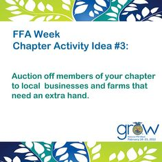 Ideas for you chapter's #FFAWeek celebration.  @Missy Clair @Windy Willette