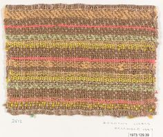 Textile sample  Designer:Dorothy Liebes (American, Santa Rosa, California 1897–1972 New York) Date:December 1947 Medium:Cotton, various yarns Dimensions:L. 6, W. 8 inches