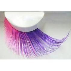 Elegant Lashes W353 Premium Jumbo Color False Eyelashes (Purple and Pink Mix) //for chesire cat costume