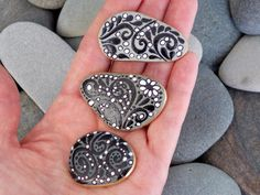 It's Black & White Magnets / Painted Rocks / by LoveFromCapeCod, $40.00