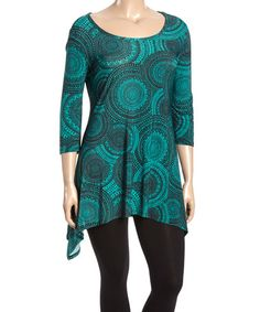 Another great find on #zulily! Hunter Green Medallion Sidetail Tunic - Plus #zulilyfinds