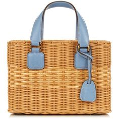 Mark Cross Manray leather and rattan tote ($1,724) ❤ liked on Polyvore featuring bags, handbags, tote bags, blue, handbag tote, summer totes, woven tote, genuine leather tote and blue leather tote bag