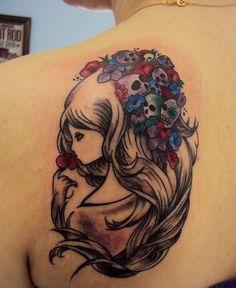 girl with tiny little skulls...  (love concept) do left arm start of sleeve.. no little girl just flowers and skulls