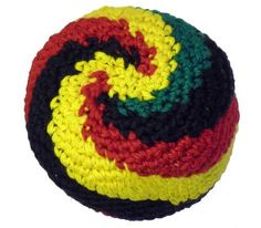 """Rasta Swirl Hacky Sack / Footbag - Hand Crocheted Made in Guatemala - Comes with Tips & Game Instructions - G27 by Adventure Trading. $6.99. Top Quality hand-crocheted Footbag made in Guatemala. It's the world's most popular Footbag. Approximately 2.25"""" in diameter filled with Recycled Resin Beads.  NOTE:  Each bag is handmade and may result in slightly different appearance & color. Please see additional photos."""